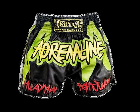 "MUAY THAI MMA K1 FIGHTLAB ""ADRENALINE JUNKIE"" THAI BOXING SHORTS - BLACK/GREEN"
