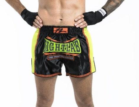 "MUAY THAI MMA K1 FIGHTLAB ""EMPOWER"" RETRO THAI BOXING SHORTS - BLACK/GREEN"