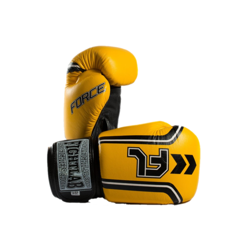 "MUAY THAI MMA K1 FIGHTLAB ""FORCE"" DESIGN THAI BOXING GLOVES - Yellow"