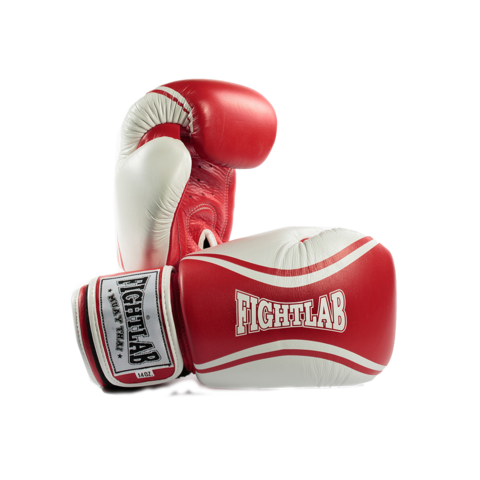 "MUAY THAI MMA K1 FIGHTLAB ""FLOW"" DESIGN THAI BOXING GLOVES - Red/White"