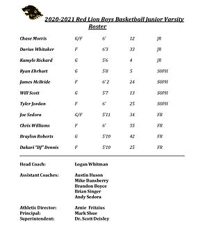 Red Lion JV Boys Basketball Roster 20-21