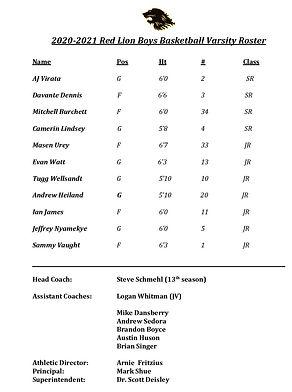 Red Lion Varsity Boys Basketball Roster