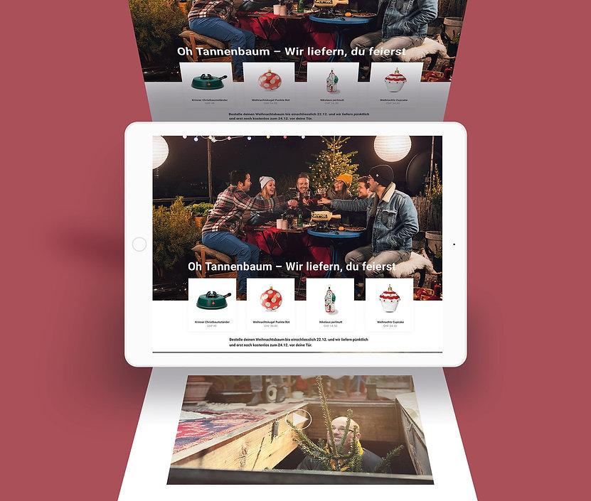 Themenwelt Weihnachtsbaumkampagne für siroop und die schweizerisch Post