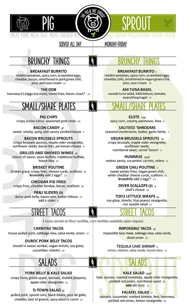 The Pig & The Sprout Regular Menu Page 1