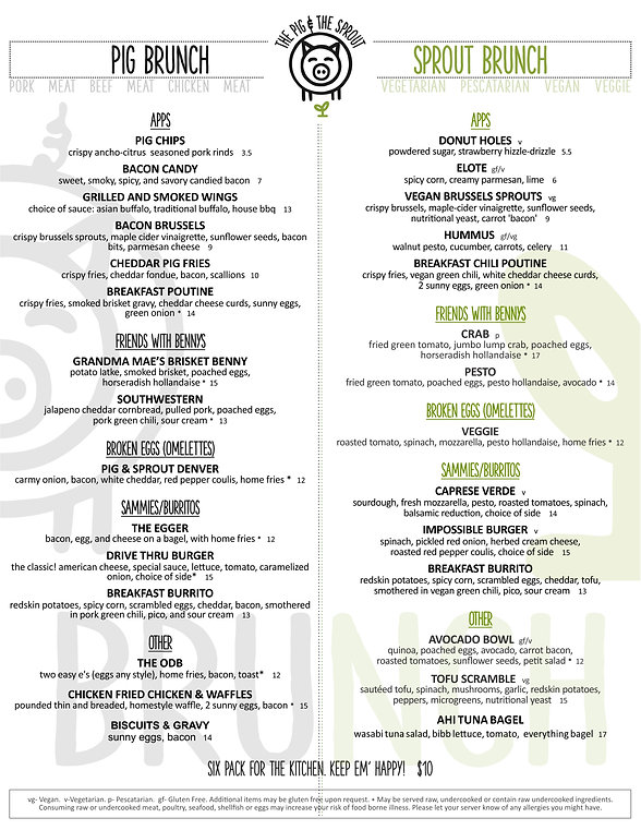 The Pig & The Sprout Brunch Menu
