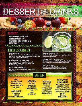 White Buffalo Dessert & Bar Menu