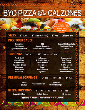 White Buffalo Build Your Own Pizza & Calzones