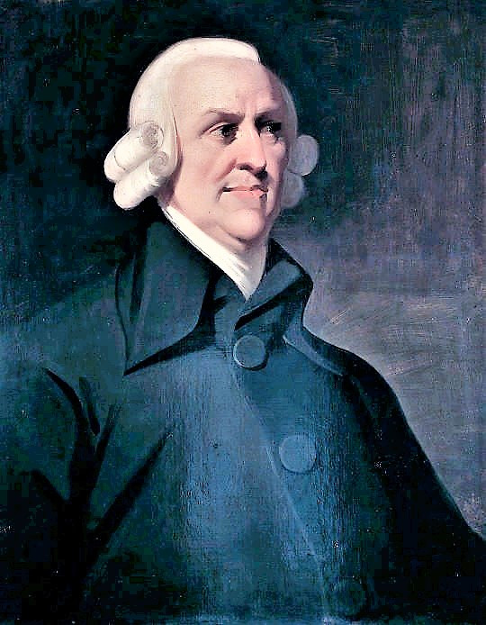 A sketch of Adam Smith. Notice his hands are not pictured.