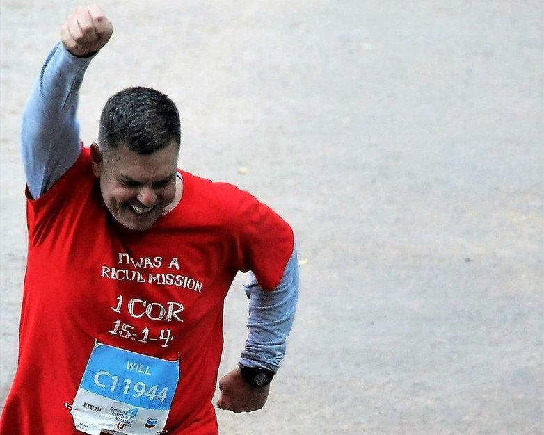 running through the finish