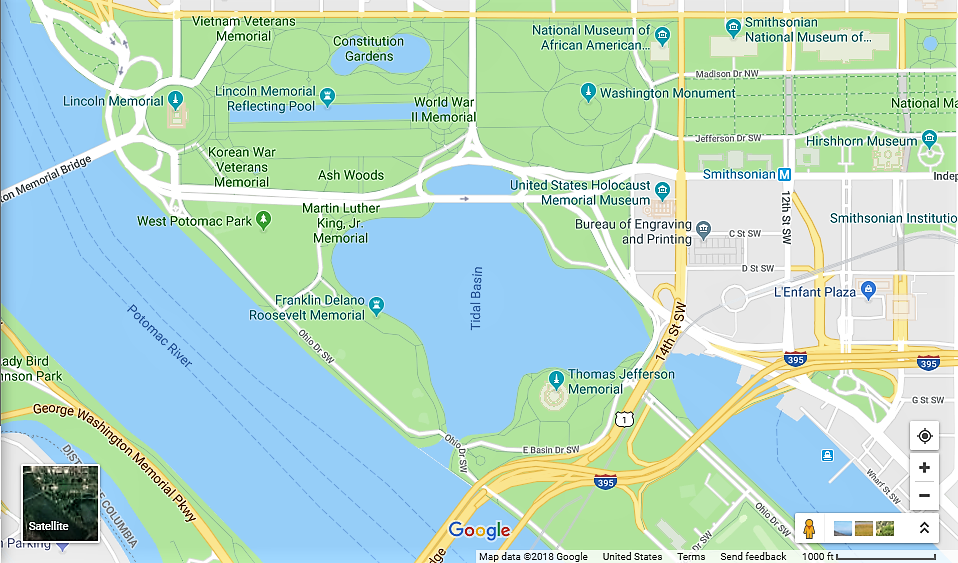 A map of Washington's Tidal Basin and the surrounding area.