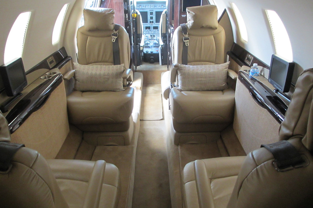 A view of the cabin of the Cessna Citation Sovereign business jet.