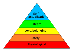 Pyramid showing Maslow's hierarchy of needs by FireflySixtySeven [CC BY-SA 4.0 (https://creativecommons.org/licenses/by-sa/4.0)], via Wikimedia Commons
