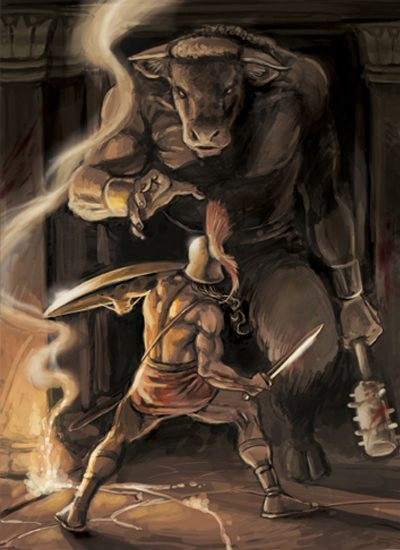 Roaming the passageways of his Labyrinth, the Minotaur comes upon Theseus.