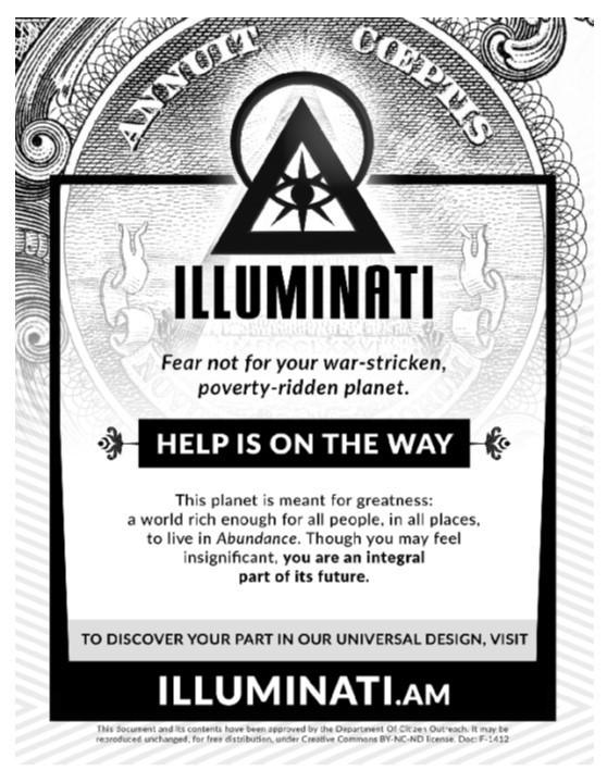 A recruiting flyer from the Illuminati secret society.
