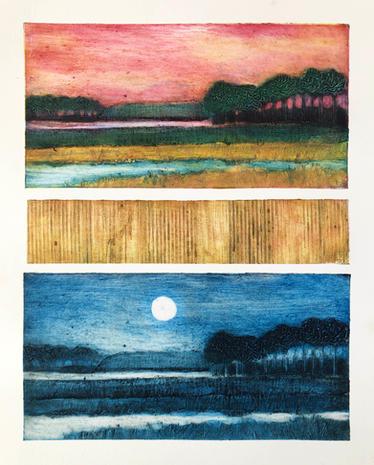 Nina Muys | Sunrise and the Moon | Carborundum Intaglio