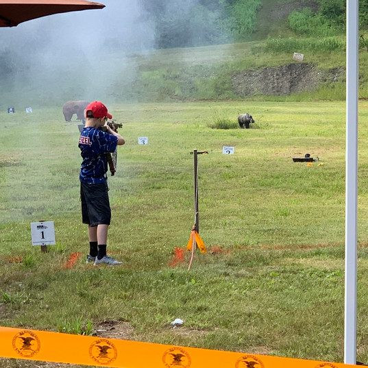Brody taking down targets with the muzzleloader