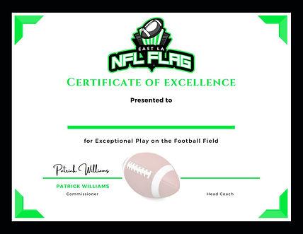 NFL Flag East LA Certificate of Excellen