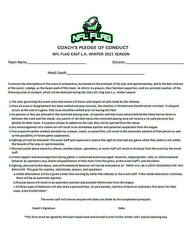 NFL Flag East LA Coach's Pledge of Condu