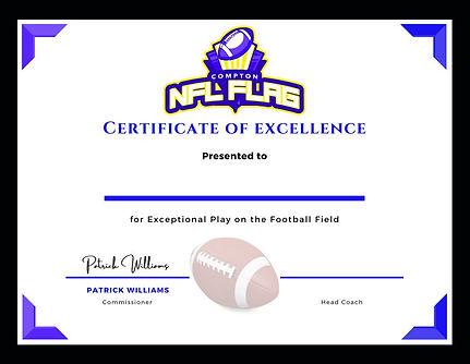 NFL Flag Compton Certificate of Excellen