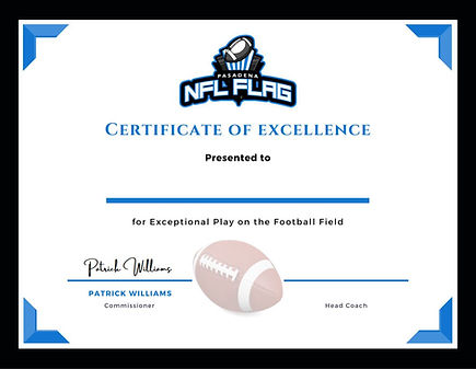 NFL Flag Pasadena Certificate of Excelle