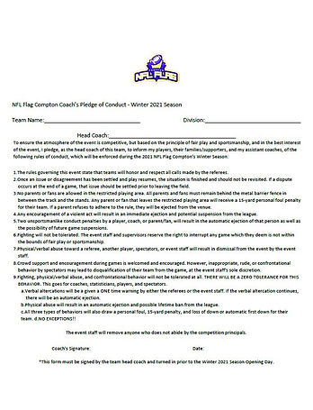 NFL Flag Compton Coach's Pledge of Condu
