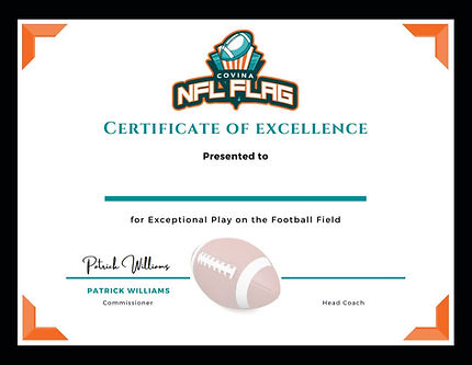 NFL Flag Covina Certificate of Excellenc