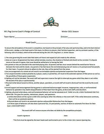 NFL Flag Covina Coach's Pledge of Conduc