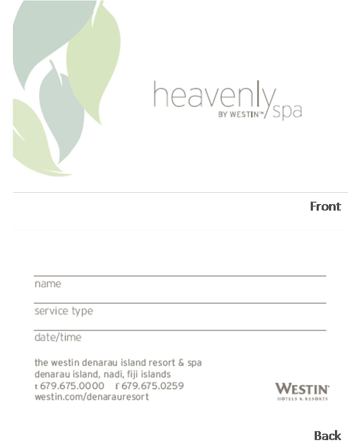 Heavenly Spa Appointment Card