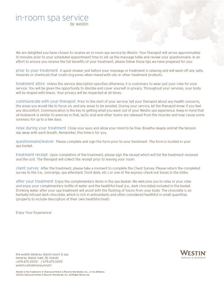 In Room Spa Intro Letter