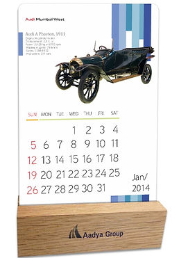 Audi Vintage Calendar With Wooden Stand.