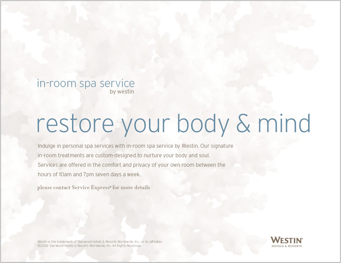 In Room Spa Counter Card