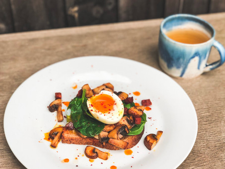 Balsamic Mushrooms, Chorizo and Egg