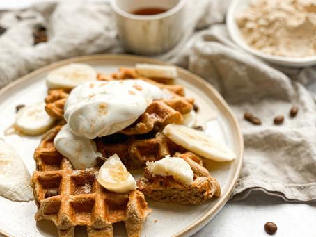 Coffee Caramel Protein Waffles
