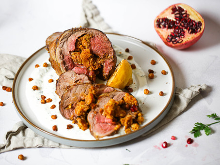 Harissa and Apricot Stuffed Lamb