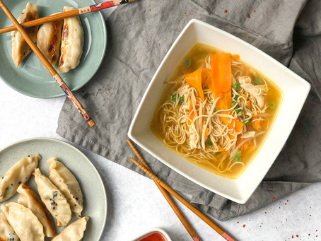 Chicken Noodle Soup and Pot Stickers