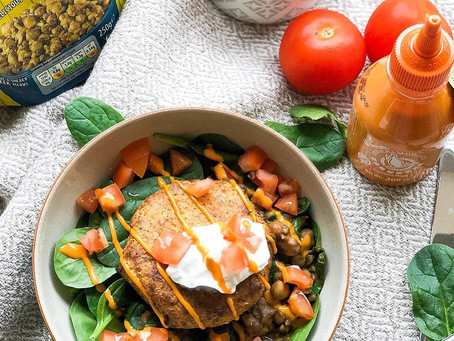 Spicy Sweet Potato Burger with Curried Chickpeas