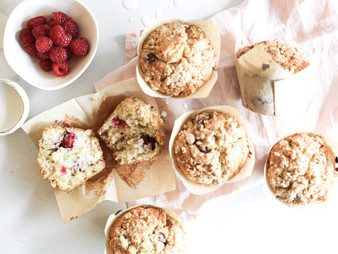 Raspberry and coconut crumble muffins