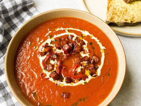 Tomato and Red Pepper Soup with Chorizo