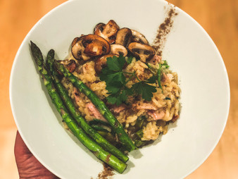 Ham Risotto with Asparagus and Mushrooms