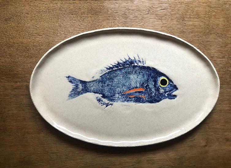 Plat oval Collection Gyotaku Cobalt