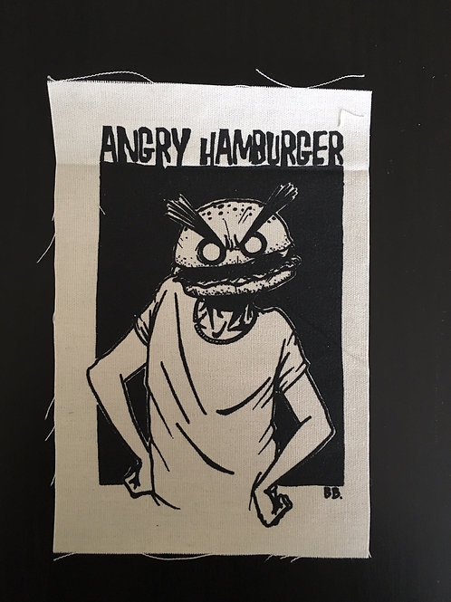angry hamburger patch