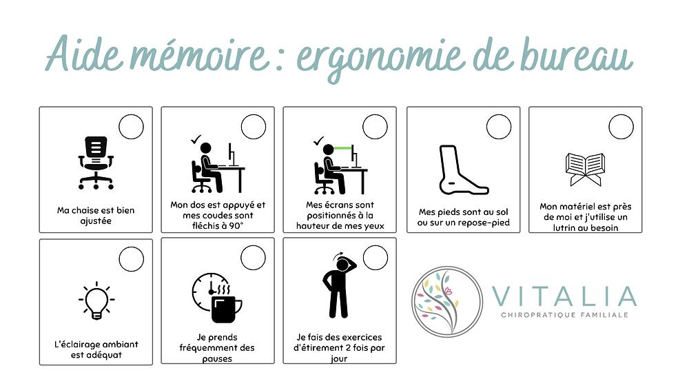 Aide mémoire : ergonomie de bureau