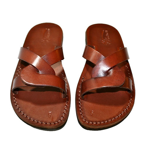 Brown Tumble Leather Sandals For Men & Women