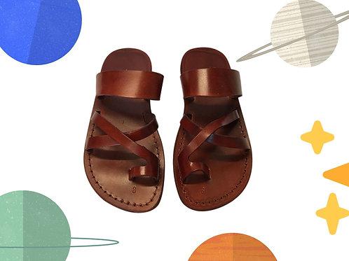 Brown Bath Handmade Leather Sandals for Children