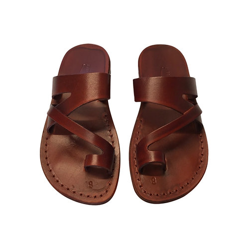 Brown Zing Leather Sandals For Men & Women