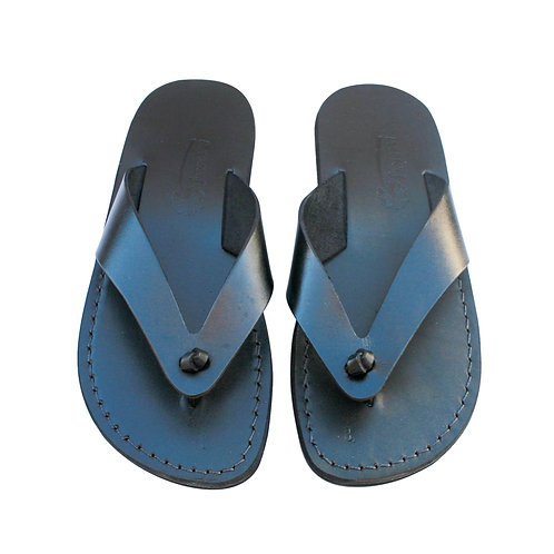 Black Surf Leather Sandals For Men & Women