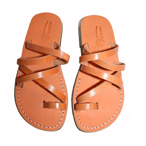 Caramel Buckle-Free Leather Sandals For Men & Women