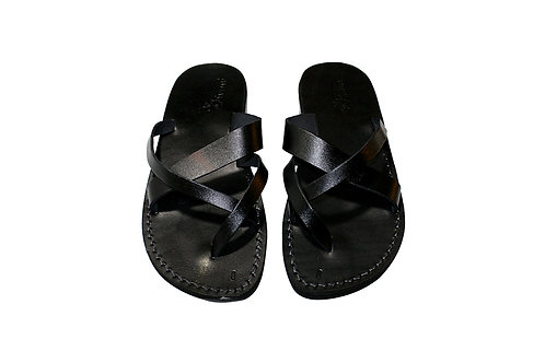 Black Comply Leather Sandals For Men & Women