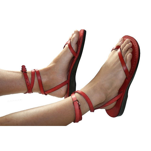 Red Ankle-Strap Leather Sandals For Men & Women