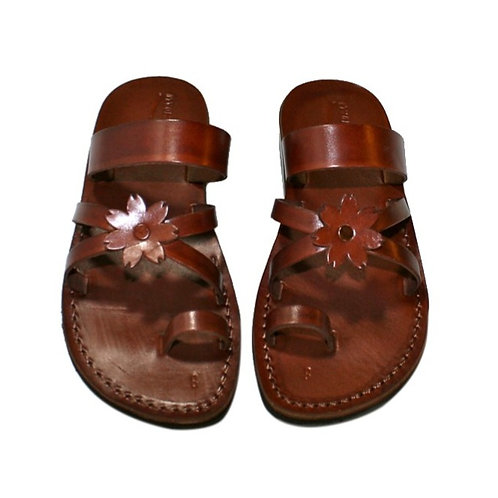 Brown Flower Cross Leather Sandals For Men & Women